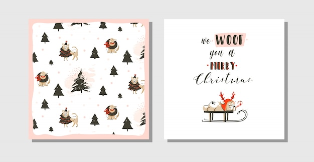 Hand gezeichnete spaß frohe weihnachten zeit waschbär karten gesetzt mit niedlichen illustrationen, mops hund auf schlitten und modernen typografie text auf weißem hintergrund
