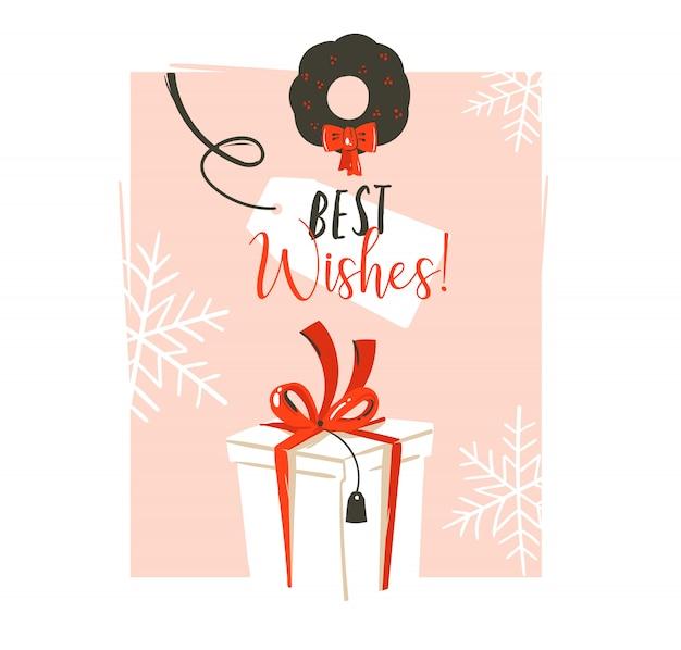 Hand gezeichnete spaß frohe weihnachten zeit waschbär retro vintage illustration grußkarte mit großen weißen überraschung geschenkbox und best wishes typografie auf rosa pastell hintergrund