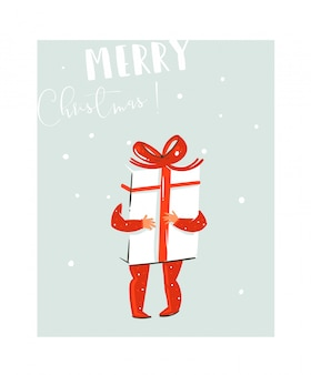Hand gezeichnete spaß-frohe-weihnachtszeit-waschbärillustration mit babykind, das große überraschungsgeschenkbox mit roter schleife und modernem typografiezitat auf blauem hintergrund hält