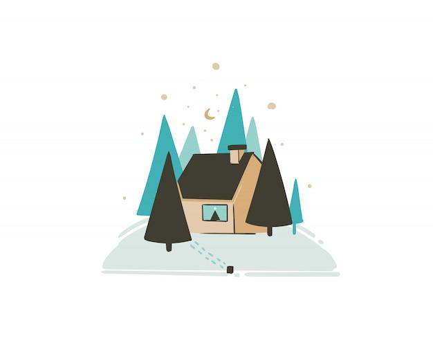 Hand gezeichnete spaß frohe weihnachtszeit waschbärkarte mit niedlichen illustration der weihnachtslandschaft im freien schneewald und noel haus auf weißem hintergrund