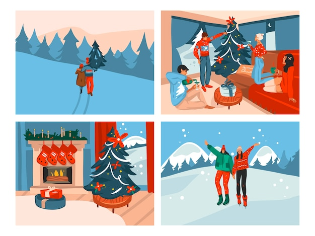 Hand gezeichnete spaß stock flat frohe weihnachten