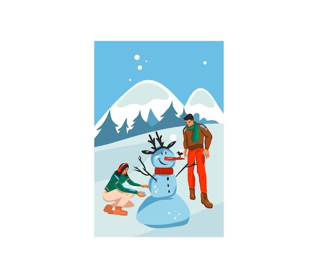 Hand gezeichnete spaßvorrat flache frohe weihnachtskarikaturkarte mit illustration des weihnachtspaares zusammen, das schneemann im freien lokalisiert auf landschaft macht