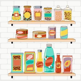 Hand gezeichnete speisekammer mit verschiedenen lebensmitteln