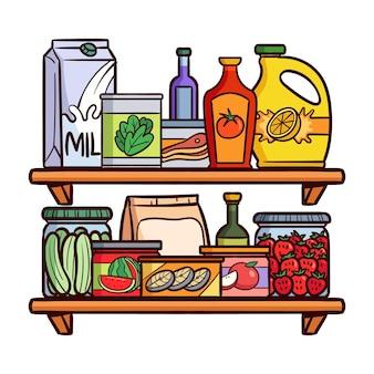 Hand gezeichnete speisekammer mit verschiedenen nahrungsmitteln eingestellt