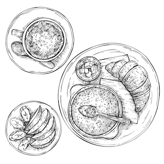 Hand gezeichnete spiegeleier mit würstchen, tomaten, butter und toast. geschnittene früchte auf einem teller: apfel und banane. tasse tee, kaffee, heiße schokolade auf teller. skizze draufsicht frühstück.