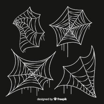 Hand gezeichnete spinnennetz-auflistung