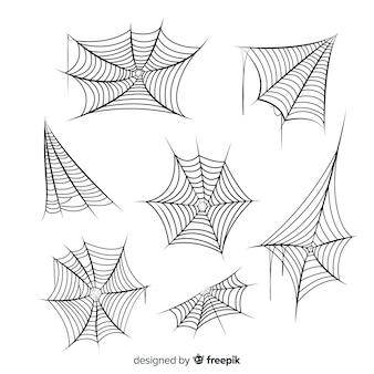 Hand gezeichnete spinnennetzsammlung auf weißem hintergrund