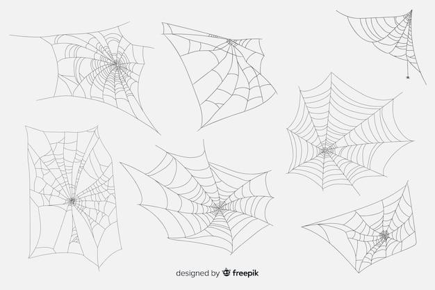 Hand gezeichnete spinnennetzsammlung