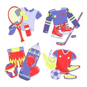 Hand gezeichnete sportaufkleber-sammlung Kostenlosen Vektoren