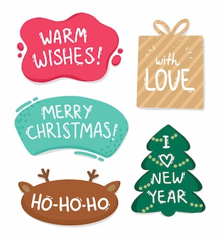 Hand gezeichnete sprachblase weihnachtsaufkleber