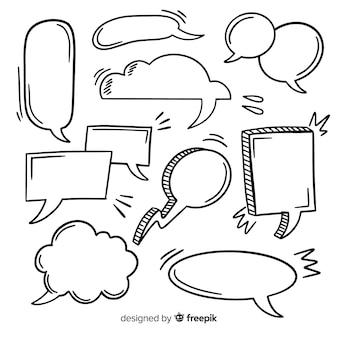 Hand gezeichnete spracheblase mit raumsammlung