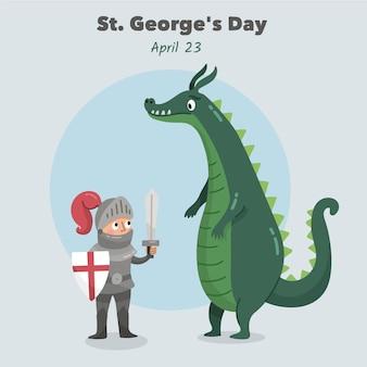 Hand gezeichnete st. george's day illustration mit ritter und drache