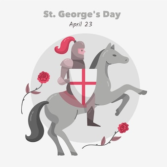 Hand gezeichnete st. george's day illustration mit ritter