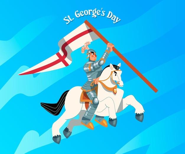 Hand gezeichnete st. george's day illustration mit ritter
