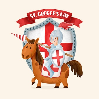 Hand gezeichnete st. george's day illustration