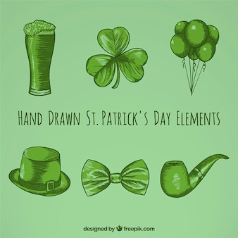 Hand gezeichnete st. patrick day elements