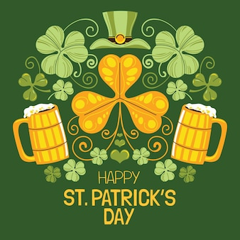 Hand gezeichnete st. patrick's day bierkrüge