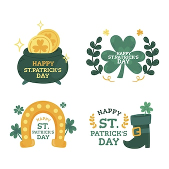 Hand gezeichnete st. patrick's day label kollektion
