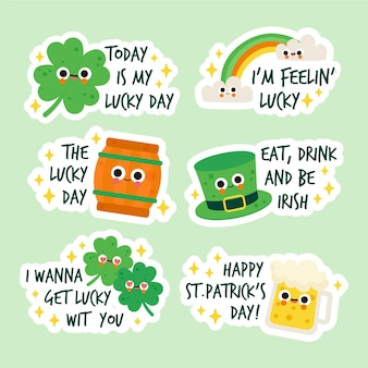 Hand gezeichnete st. patrick's day label set