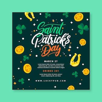 Hand gezeichnete st. patrick's day square flyer vorlage