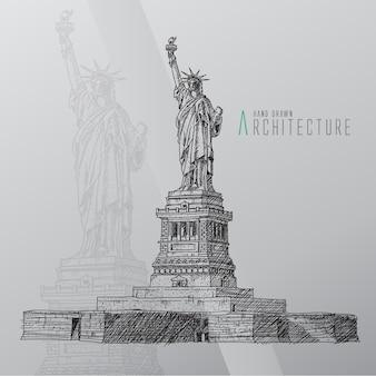 Hand gezeichnete statue der freiheit