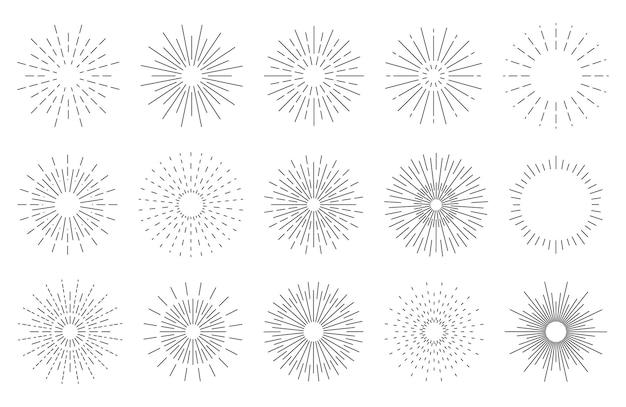 Hand gezeichnete stern burst strahlen im einfachen retro-design gekritzel explosion oder sonnenschein