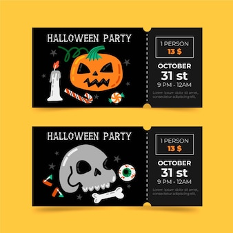Hand gezeichnete stil halloween-tickets