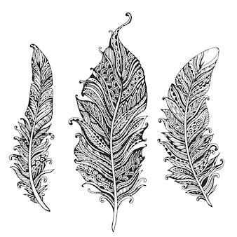 Hand gezeichnete stilisierte federn schwarzweiss-sammlung