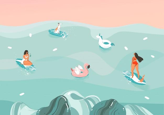Hand gezeichnete stock abstrakte illustration mit einer lustigen sonnenbad-familienmenschengruppe in der ozeanwellenlandschaft, die auf farbhintergrund schwimmt und surft