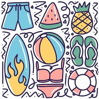 Hand gezeichnete strandausrüstung kritzeln mit designikonen und -elementen
