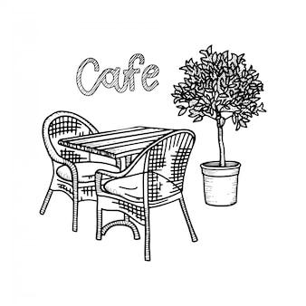 Hand gezeichnete straßencafémöbel - tisch, zwei stühle und topfpflanze. hand gezeichnete skizze für menüentwurf, skizze restaurantstadt. schwarzweiss-weinleseillustration mit beschriftung.