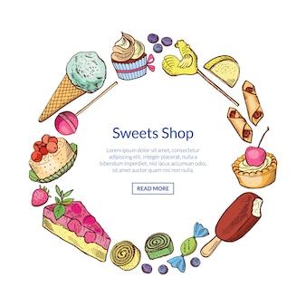 Hand gezeichnete süßigkeiten im kreis