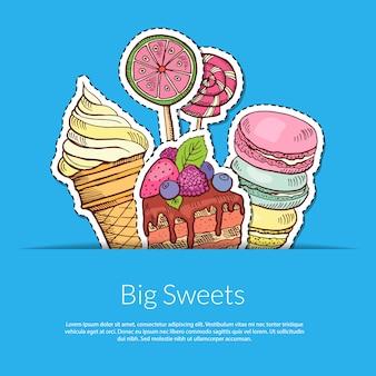 Hand gezeichnete süßigkeiten in der tasche mit platz für text