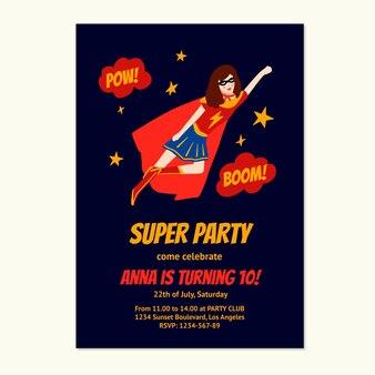 Hand gezeichnete superheldengeburtstagseinladungsschablone