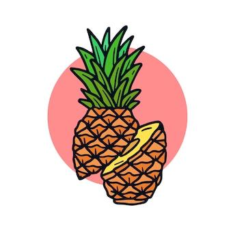 Hand gezeichnete tätowierungsillustration der ananas alte schul