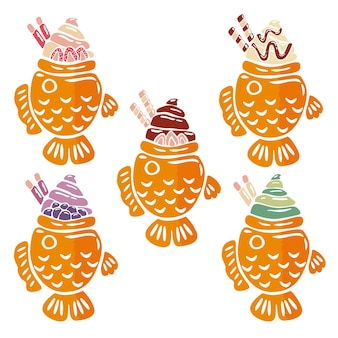 Hand gezeichnete taiyaki-illustration
