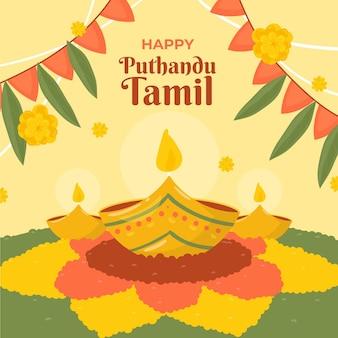 Hand gezeichnete tamilische neujahrsillustration