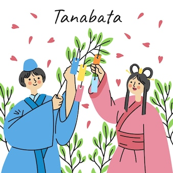 Hand gezeichnete tanabata-illustration