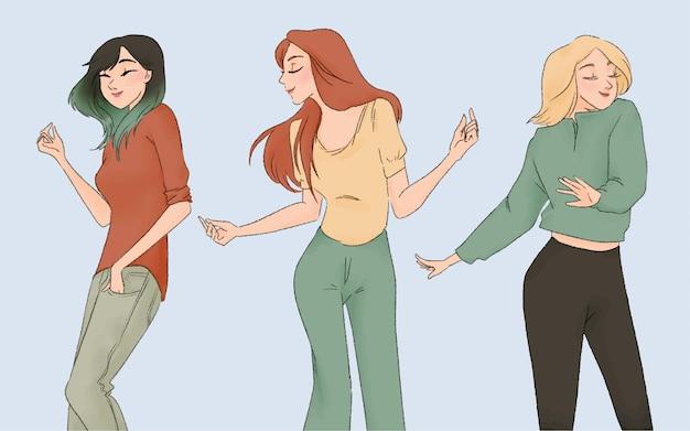 Hand gezeichnete tanzende karikatur des glücklichen mädchens