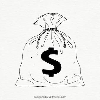 Hand gezeichnete tasche mit dollar-symbol