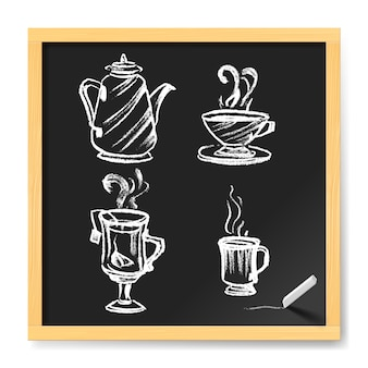 Hand gezeichnete tasse kaffee und tee. menü für cafe auf tafel