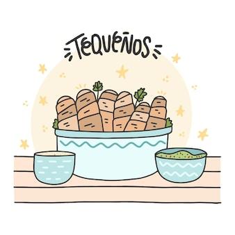 Hand gezeichnete tequeños klebt illustration