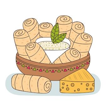 Hand gezeichnete tequenos mit käse