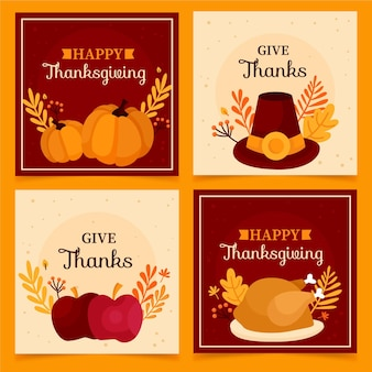 Hand gezeichnete thanksgivinb instagram post sammlung