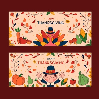 Hand gezeichnete thanksgiving-banner-vorlage