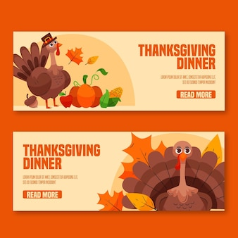 Hand gezeichnete thanksgiving-banner