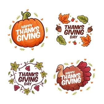 Hand gezeichnete thanksgiving-etikettenpackung