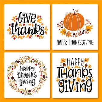 Hand gezeichnete thanksgiving instagram beiträge sammlung