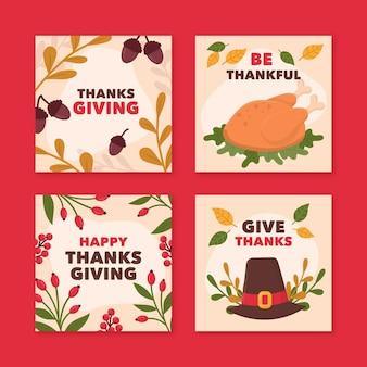 Hand gezeichnete thanksgiving instagram beiträge