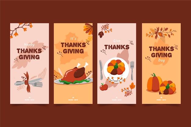 Hand gezeichnete thanksgiving-instagram-geschichten